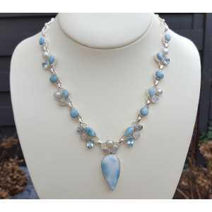 Silber Halskette mit Larimar, Mondstein und Blautopas