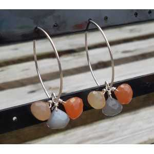Silver earrings with colored Moonstones