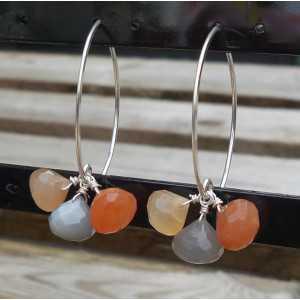 Zilveren oorbellen met gekleurde Maanstenen