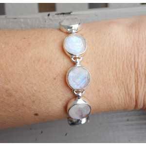 Zilveren edelsteen armband met ronde facet Maanstenen