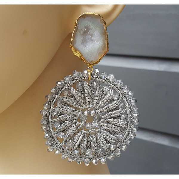 Gold plated earrings with Agate geode and light grey pendant with crystals