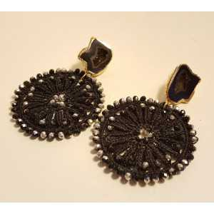 Gold plated earrings with Agate geode and black pendant with crystals