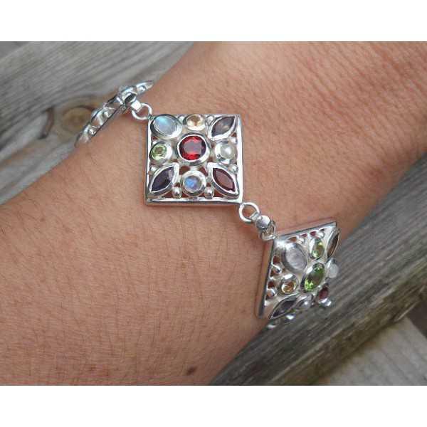 Silber-Armband-Quadrat-link-Kette mit mehreren Steinen