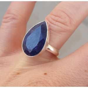 Silber ring set mit ovalen Saphir 18