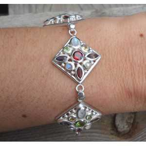 Zilveren armband vierkante schakels met multi edelstenen