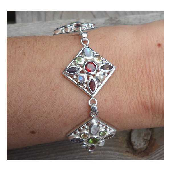 Silver bracelet-square link chain with multi stones