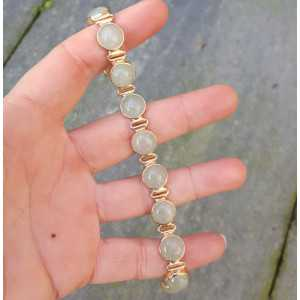 Rosé gold-plated bracelet set with round cabochon Aventurine