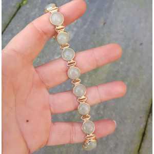 Rosé vergoldete Armband mit Runden cabochon aus Aventurin