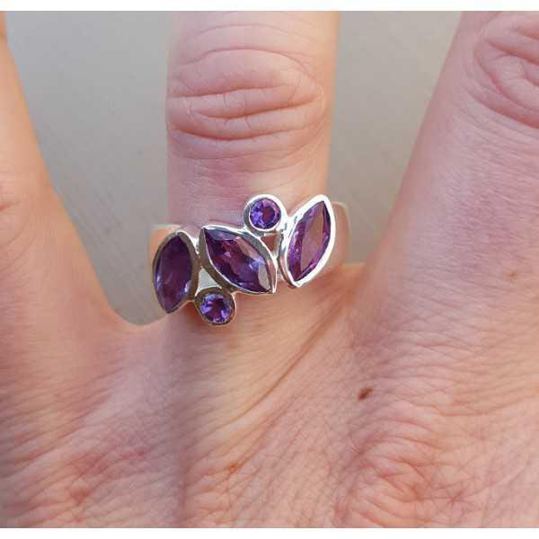 Silber ring set mit rund-und marquise Amethisten