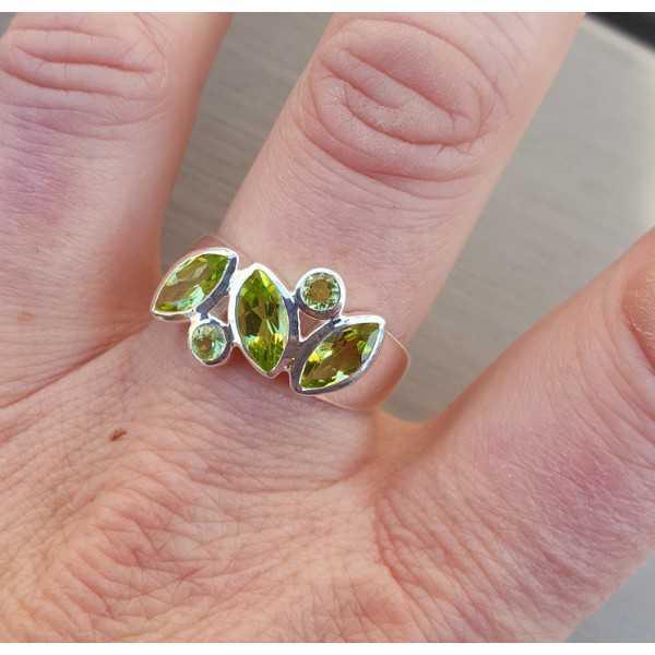 Silber ring set mit rund-und marquise Peridot