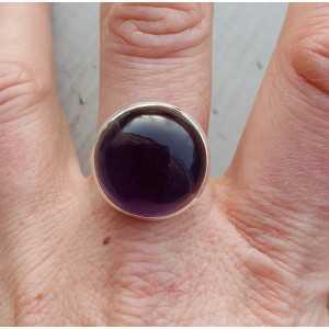 Silber ring-rund cabochon-cut Amethyst 18 mm