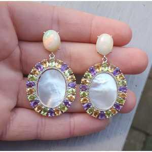 Zilveren oorbellen Opaal, Parelmoer, Citrien, Peridot en Amethist