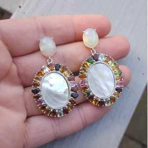 Silber Ohrringe mit Opal, Perlmutt und Turmalin