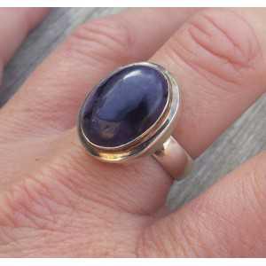 Zilveren ring gezet met Sugiliet ring maat 19 mm