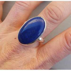 Zilveren ring gezet met ovale Lapis Lazuli 21.5 mm