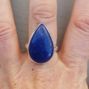 Silber ring mit ovalen Lapis-Lazuli-19.7 mm