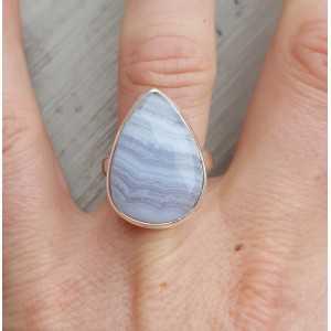 Zilveren ring met blauw Lace Agaat 17.3 mm