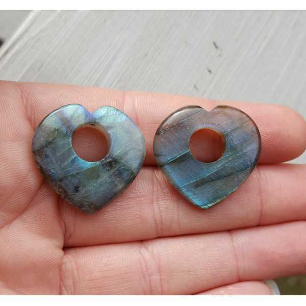 Creool hanger set hart van Labradoriet