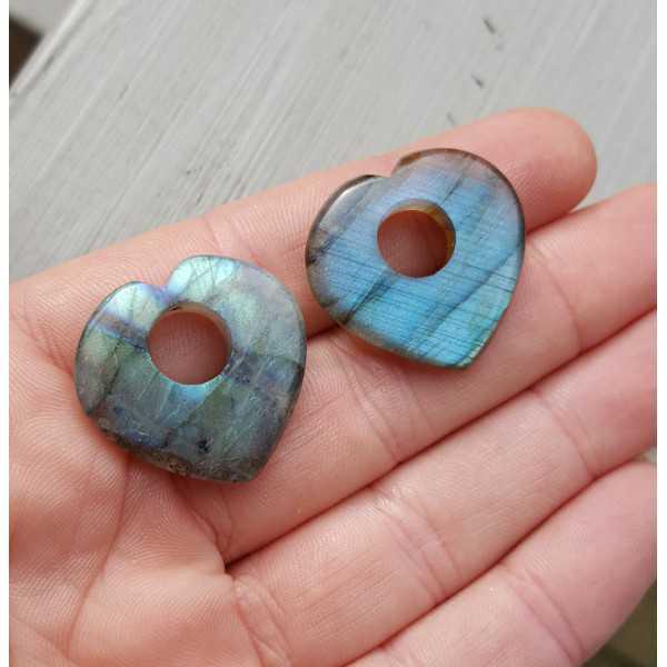 Creole earrings set heart of Labradorite