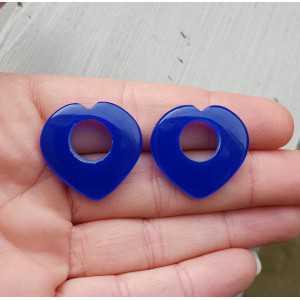 Creool hanger set hart van kobalt blauw Chalcedoon