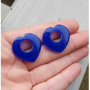 Creole earrings set heart of cobalt blue Chalcedony