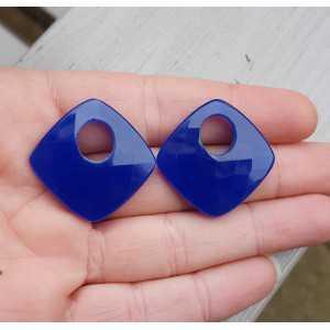 Creole-Aufhänger-Satz des Quadrat-cobalt blue Chalcedon