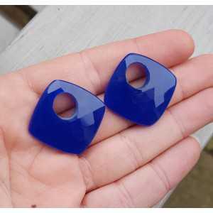 Creole hanger set of square cobalt blue Chalcedony