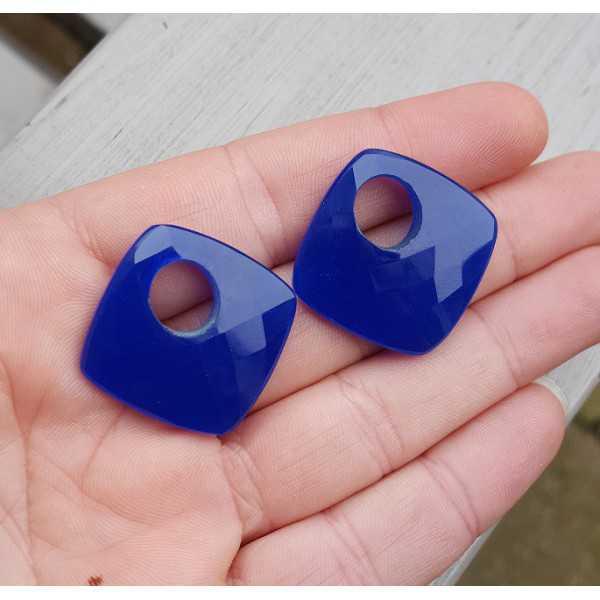 Creool hanger set vierkante kobalt blauw Chalcedoon