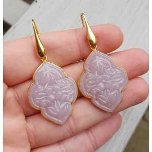 Vergulde oorbellen met uit gesneden lavendel Chalcedoon