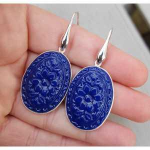 Zilveren oorbellen met ovale uitgesneden blauwe Chalcedoon quartz