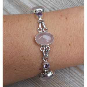 Zilveren armband met cabochon Rozenkwarts en facet Amethisten
