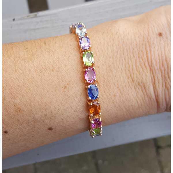 Rosé vergoldete Armband mit ovaler multi Edelsteine