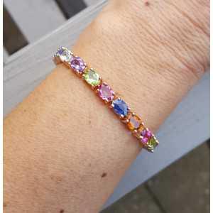 Rosé gold-plated bracelet set with oval multi gems