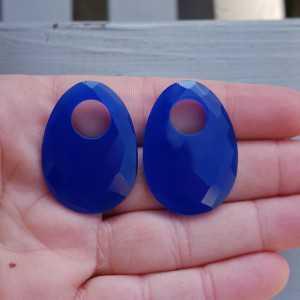 Creool hanger set met ovale kobalt blauwe Chalcedoon