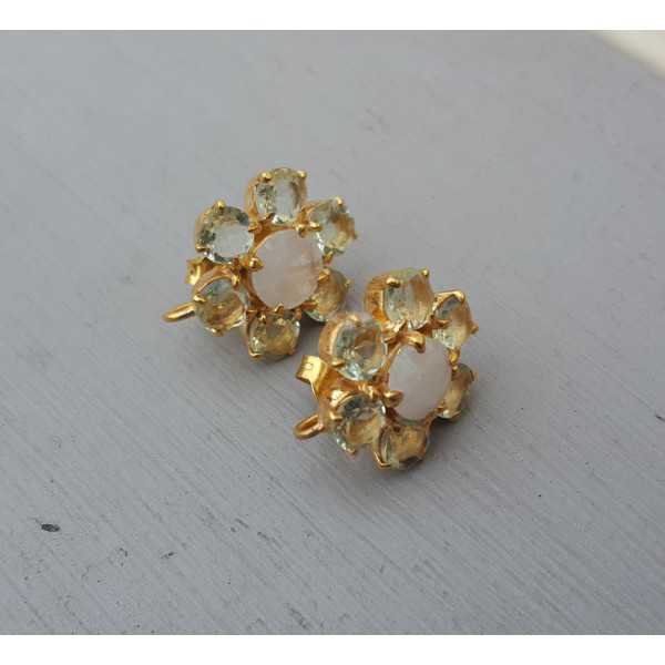Gold plated oorknoppen with green Amethyst and Moonstone