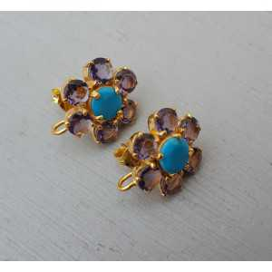 Gold plated oorknoppen with Turquoise and Amethyst