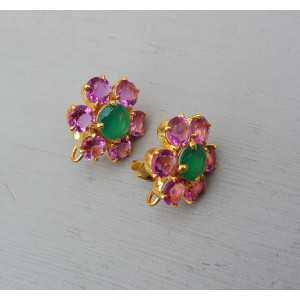 Goud vergulde oorknoppen met roze Toermalijn quartz en groene Onyx