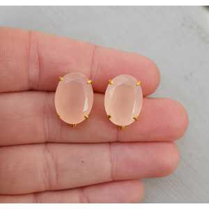 Vergulde oorknoppen gezet met roze Chalcedoon