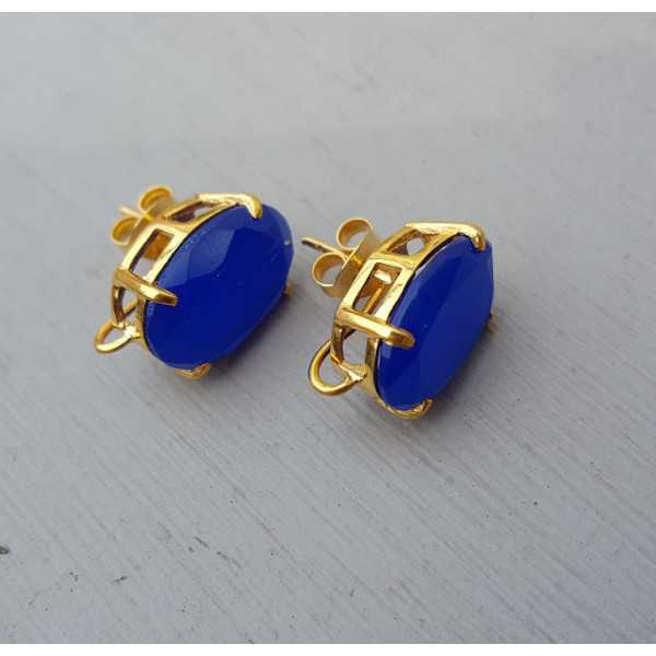 Gold plated oorknoppen set with cobalt blue Chalcedony