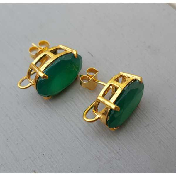 Gold plated oorknoppen set with green Onyx