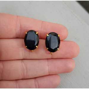 Vergulde oorknoppen gezet met zwarte Onyx