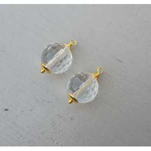 Goud vergulde losse hanger set met Bergkristal