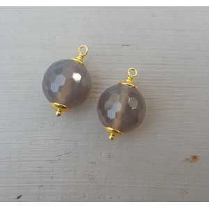 Gold plated loose pendant set with grey Agate