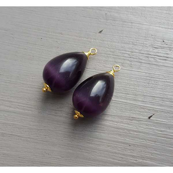 Gold plated loose pendant set with purple cat's eye