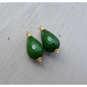 Gold plated loose pendant set with green Jade