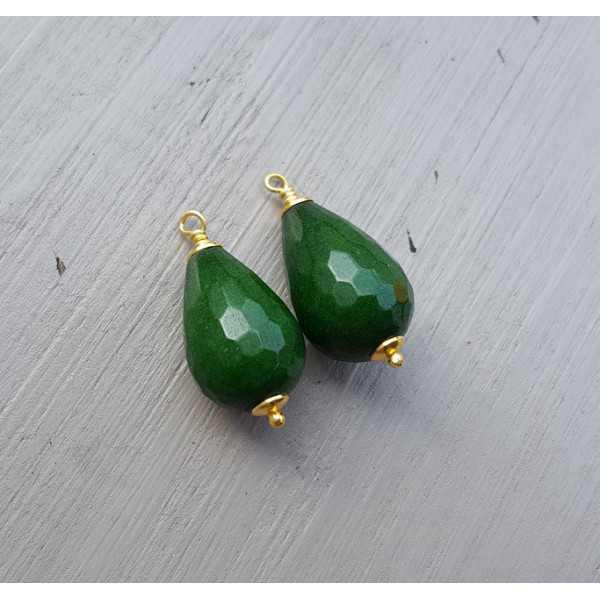 Goud vergulde losse hanger set met groene Jade