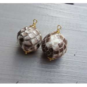 Gold plated pendant set with sphere of Snakeskin