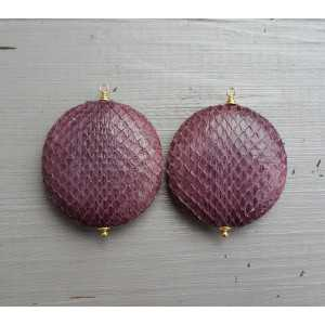 Gold plated loose pendant set with round purple snakeskin pendant