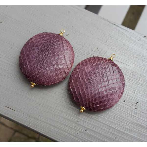 Goud vergulde losse hanger set met ronde paarse slangenleer hanger