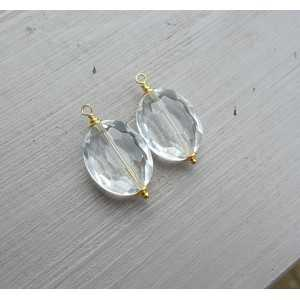 Goud vergulde losse hanger set met ovale Bergkristal
